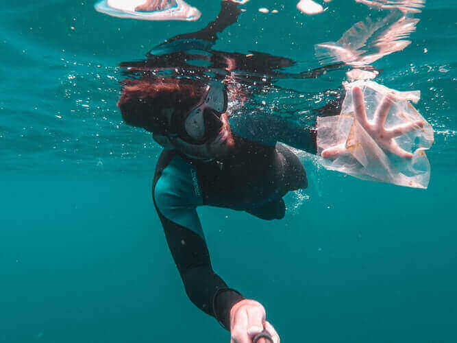 white plastic bags on our ocean