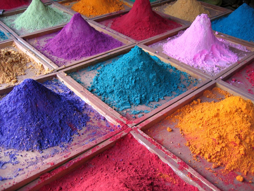 Pigments are solid and dry coloring substances that come in powdered form